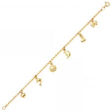 14K Yellow Gold Heart Sun Moon Dolphin Ribbon Bracelet - Charm Rolo Chain Link