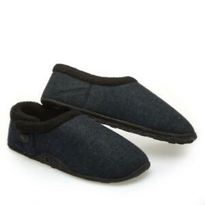 Homeys Mens Tony Dark Blue Tweed Slippers NEW