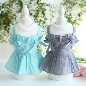 Double bow tube top skirt Dog Clothes Pet Dress Rabbit Cat Clothing For Dogs