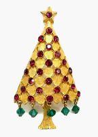 Vintage Signed Mylu Christmas Tree Brooch Red Rhinestones Crystal Dangle Beads