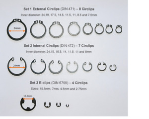 Assortment Sets Circlips Tapered-section and E-clips ( C-clips or Jesus clips)