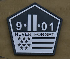 """PVC / Rubber Patch """"Never Forget 9-11-01"""" with VELCRO® brand hook"""