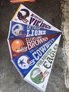 Lot of 5 Vintage 1970's Felt NFL Pennants Vikings Lions Eagles Cowboys Riddell