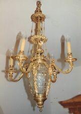 Finer Anitker1910 Gold Bronze Hängender Kerzenleuchter 4Arming Hall Light Ormolu