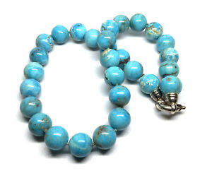 """Whitney Kelly WK 925 Sterling Silver Turquoise Bead Knotted Strand 18"""" Necklace"""