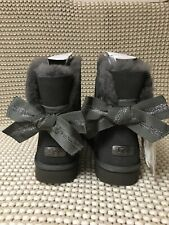 UGG Australia Customizable Bailey Bow Mini Charcoal/Gray/Grey Boot Size 11 NEW!