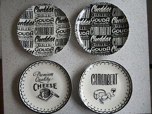 Gourmet Cheese 4 Black & White Plates