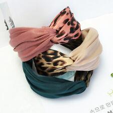 Women Fashion Print Leopard Headband Cross Knotted Hairband Hair Accessories