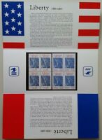 #2224 with France #2014 joint Liberty stamp folder. MNH blocks of 4