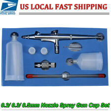 0.2/ 0.3/ 0.5mm Nozzle Dual Action Gravity Feed Airbrush Paint Spray Gun Cup Set