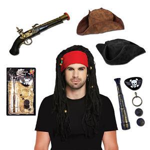 Pirate with Dreadlocks Bandana Hat Gun Eye Patch Coins Ear Piece Binoculars Stag
