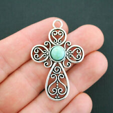 1 Cross Charm Antique Silver Tone Inset Faux Turquoise Large Size - SC4908