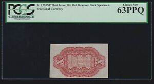 US Fractional Currency Specimen Reverse spwmb FR 1251sp PCGS 63 PPQ Ch CU -020