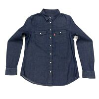 Levi's Women's Long Sleeve Denim Shirt In Dark Navy Size XS