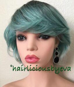 Pastel wig Short Bangs Wavy Ombré Green Turquoise Black Heat Ok