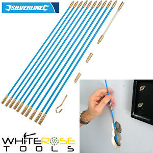 Silverline Cable Access Tool Kit 10 x 330mm Puller Rods Wires Electrician 13pc