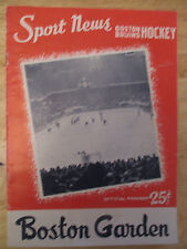 Boston BRUINS 1958 Program vs MONTREAL CANADIENS Plante Harvey Richard Pronovost