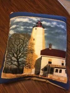 New Handmade Lighthouse Quillow (Pillow w/ 6ft long quilt inside!)