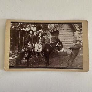Antique Cabinet Card Gold Mining Town Children On Mule Odd Rare Silly Ouray CO