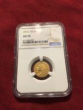 1913 INDIAN HEAD QUARTER EAGLE $2.5 GOLD NGC AU55