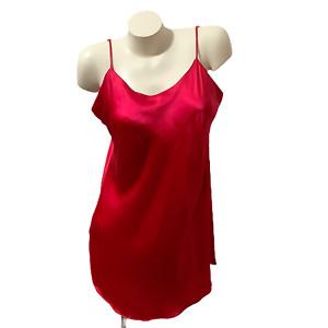 Victoria's Secret 100% Silk Slip, Lingerie Sexy RED Slip, Chemise Size L VINTAGE