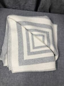 "Restoration Hardware Alpaca Framed Throw- Ivory/ Light Grey  50"" X 70""   0266"
