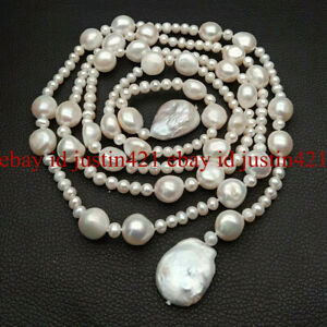 50'' Real Freshwater Cultured White Pearl & Coin Baroque Pearl Lariat Necklace