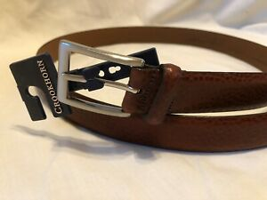 CROOKHORN Brown Leather Dress Casual Belt Mens size 40 NEW Made in USA