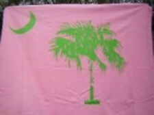 "50"" x 60"" South Carolina Palmetto State Logo PINK & GREEN Deluxe Fleece Blanket"