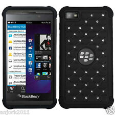 BlackBerry Z10 Laguna Spot Diamond Hybrid Case Skin Cover Black