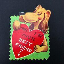 Vtg Weiner Dog Daschund Valentines Day Card 1960s Ephemera Greeting Puppy Usa