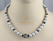 Perlenkette - hellgraue Süßwasser-Perlen mit Turmalinquarz & Spinell 47 cm