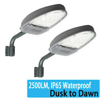 2 x LED Street Light 2500LM Dusk to Dawn Sensor Outdoor Waterproof Security