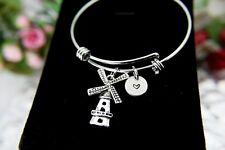 Silver Windmill Charm Bracelet, Windmill Bangle, Farmer Charm, Garmer Gift