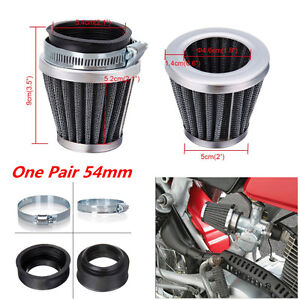 2x 54mm Motorcycle Cafe Racer Tapered Chrome Pod Air Filters Cleaner