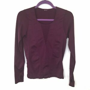 Fabletics Plum Long Sleeve Activewear Top With Cut Outs Sz M
