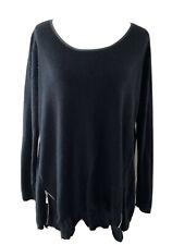 Torrid Sweater Black Acrylic Side Front Zipper Slits