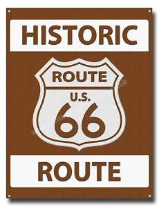 "HISTORIC ROUTE U.S.66 METAL SIGN,RETRO,GARAGE / MAN CAVE SIGN 16"" X 12"".BROWN."