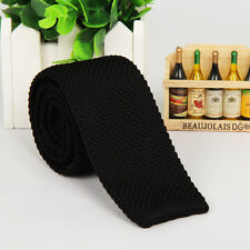 NEW Fashion Men's  Necktie Solid Woven Tie Knit Knitted Tie Narrow Slim Skinny