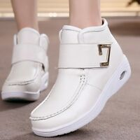 Hospital Winter Women's Leather Nurse Work Boots Fur Lined Warm Nursing Shoes