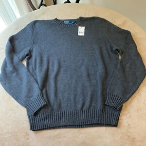NWT Polo By Ralph Lauren Mens Gray Long Sleeve Pullover Sweater Size L NEW