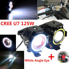 2PCS CREE LED 125W Motorcycle Headlight Strobe Halo White Driving Fog Spot Lamp