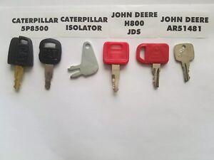 (6) Heavy Equipment Ignition KeyS Caterpillar John Deere JD JDS AR51481 H800 Cat