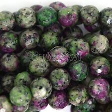 """8mm faceted ruby zoisite jade round beads 15"""" strand AAA+"""