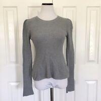 Womens 1. State Gray Peplum Sweater Long Sleeve Size Small