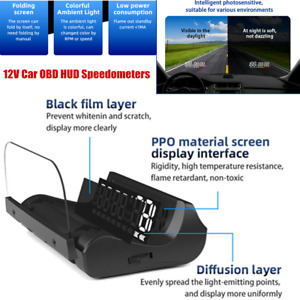 Heads Up Display For Cars OBD Speedometer Color Changing Atmosphere Light Baffle