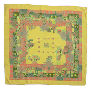 BAYRON HAND ROLLED PAISLEY FLOWERS YELLOW LARGE Silk Scarf  34/33In #A42