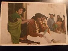 1933 POSTCARD MOQUI INDIAN GIRLS WOMAN LADIES COLORFUL DRESSES HAIR