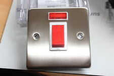 45 Amp  SATIN STAINLESS STEEL WHITE INSERT DOUBLE POLE SWITCH. NEON