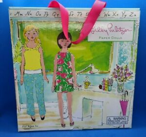 Vintage Lilly Pulitzer Paper Dolls--school and camping scene, 2 dolls, clothes